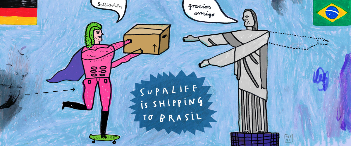 """Supalife is shipping to Brasil now!"" Supalife Kiosk, Berlin 2019"